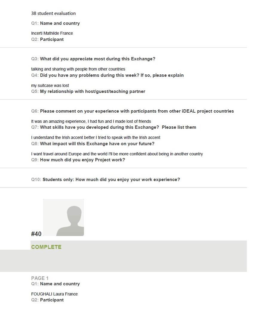 student evaluation 1
